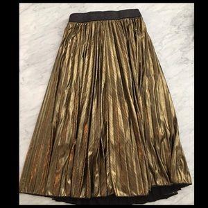 Pleated Gold Metallic Midi Skirt